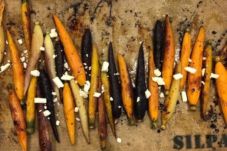 Thyme & Maple Roasted Carrots with crumbled Feta Cheese